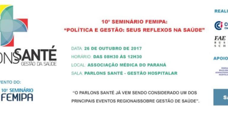FBAH participará do 10º Seminário FEMIPA 2017 com o Tema Central: Política e gestão: seus reflexos na saúde, nos dias 25, 26 e 27 de outubro de 2017, que acontecerá na Associação Médica do Paraná.